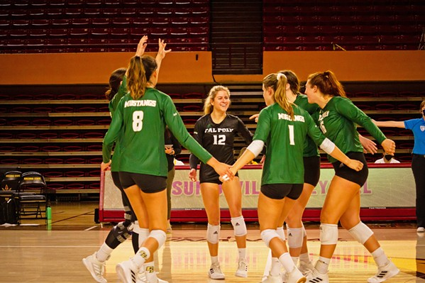 TEAMING UP The Cal Poly women's volleyball team missed out on a year's worth of games because the Big West Conference canceled the fall 2020 season due to the pandemic. - PHOTOS COURTESY OF CAL POLY ATHLETICS COMMUNICATIONS
