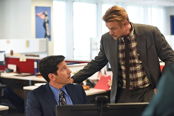 """BULLETS AND BROS After losing his daughter to gun violence, grieving father Chase Milbrant (Jon Bernthal, left) takes a job at the National Gun Lobby, where he meets Aaron (Boyd Holbrook), in the anthology TV series The Premise, episode 2, """"Moment of Silence,"""" screening on Hulu. - PHOTO COURTESY OF FX PRODUCTIONS"""