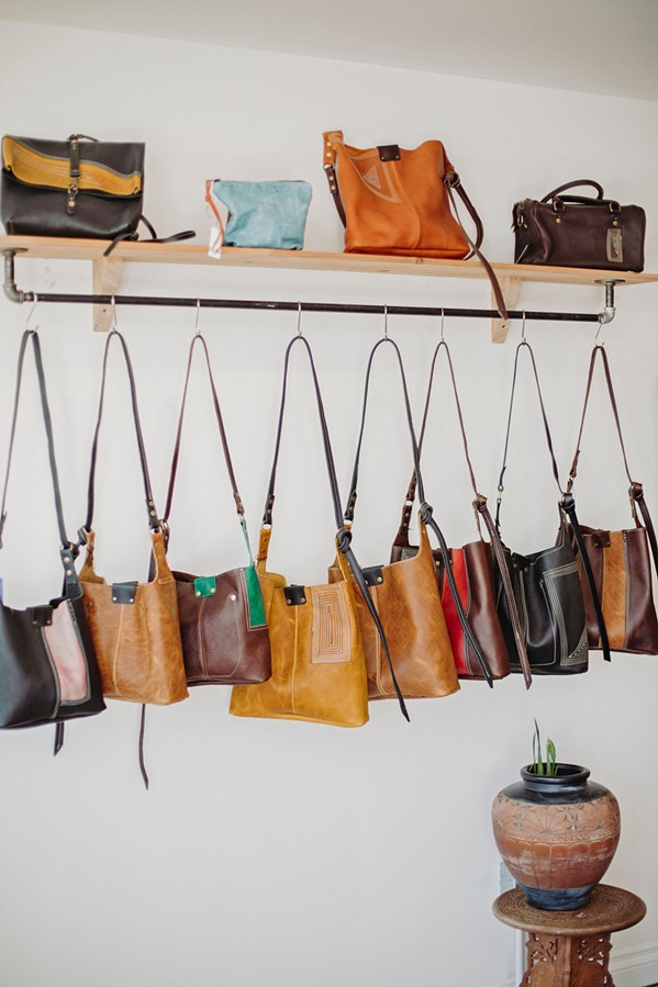 ORIGINALS Each of Emma Thieme's handmade leather bags is unique, and she's also open to commissions—provided she has room to express her own creativity. - COURTESY PHOTOS BY TERESA LOJACONO