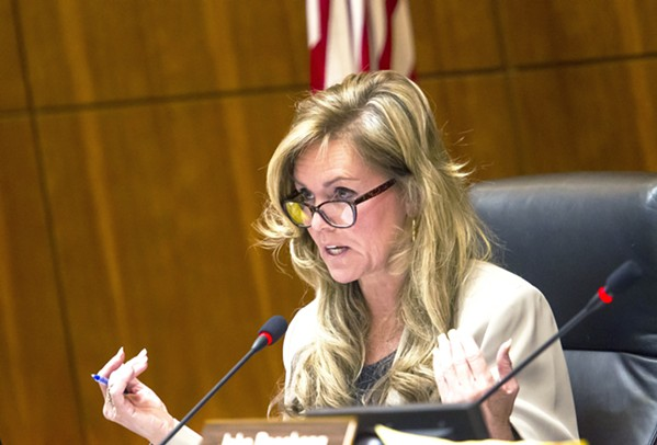 DECIDING VOTE Fourth District Supervisor Lynn Compton (pictured) was the swing vote on Oct. 5 not to add additional candidates to a pool of finalists for for interim clerk-recorder. - FILE PHOTO BY JAYSON MELLOM