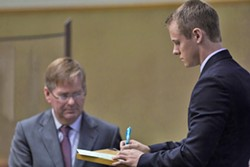 SHIFTING GEARS:  Cal Poly student and former Delta Sigma Phi president Gear McMillan—seen here during his arraignment on Oct. 21, 2014—signed a plea agreement on Feb. 6 of this year. His sentencing for felony drug possession—stipulated to include no more than one year in - county jail—is set for April 17. - FILE PHOTO BY KAORI FUNAHASHI