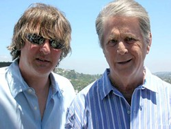IT'S WHO YOU KNOW :  Local author and Beach Boys expert Jon Stebbins (left) already had a relationship with Brian Wilson (right) because of the two books he'd written about the seminal California band, so Stebbins used his connections to broker a deal between Lance Robison and Capitol Records for some session tapes Robison had acquired from a 1964 Beach Boys recording session. - PHOTO COURTESY OF LANCE ROBISON