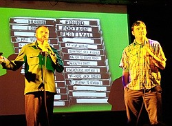 CULTURAL ATTACHES :  Nick Prueher and Joe Pickett guide audiences through the awkward, embarrassing, and hilarious found footage clips featured in their festival. - IMAGE COURTESY OF THE FOUND FOOTAGE FESTIVAL