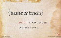BAKER & BRAIN 2012 PINOT NOIR CENTRAL COAST:
