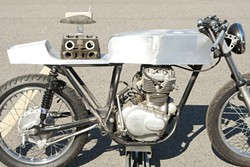 FRANKENBIKE :  This fabricated café racer is one of several one-of-a-kind bikes on display. - PHOTOS BY STEVE E. MILLER