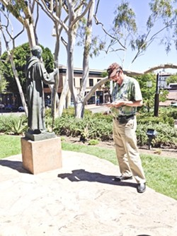 FATHER TIME:  Joe Morris discusses the influence of Father Junipero Serra on Mission life in the 18th century. - PHOTO BY JESSICA PENA