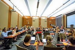 RESOLUTION PASSED:  Members of the Cal Poly Academic Senate overwhelmingly passed a resolution calling on the university to rein in spending on administrative hiring and salaries. - PHOTO BY KAORI FUNAHASHI