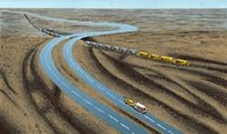 "ACROSS THE UNIVERSE:  Michael Lazorka's ""Crossroads"" illustrates the vastness of the Western landscape. - IMAGE COURTESY OF SLOMA"