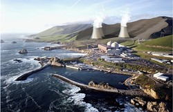 """DIABLO SPRINGFIELD:  This artist rendering depicting what three proposed cooling towers might look like at Diablo Canyon—one closed-cooling system """"alternative"""" to the plant's doomed current once-through cooling system—has raised concerns from environmental and tribal sources, as well as plenty of eyebrows along the way. - IMAGE COURTESY OF BECHTEL/STATE WATER RESOURCES CONTROL BOARD"""