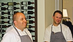 CHEF TIME:  Executive chef William Torres and sous chef Chris New often visit with guests at The Restaurant at Justin. - PHOTO BY DAN HARDESTY