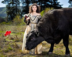 COCK AND BULL STORY :  Models: Tanya Gallardo, Elvis (the rooster), and bull with no name. Art director: Ashley Schwellenbach. Hair and makeup by Shelby Hood. - PHOTO BY STEVE E. MILLER