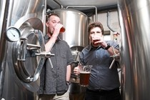 IT'S THE TASTE :  Brewmasters John Moule (left) and Eric Beaton (right) are ready to pour their latest creations at the new Creekside Brewing Company, next to the creek in downtown SLO. - PHOTO BY STEVE E. MILLER