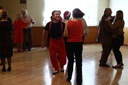 SWING, BABY, SWING! :  Members of the Basin Street Regulars dance the afternoon away. Hear the Basin Street Regulars combo, the Midnight Rose Jazz Band, and the Carrillo High School Jazz Band on March 24 in the Pismo Beach Vets Hall. - PHOTO BY CATHY CARDINAL