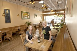 OOH LA LA! :  General Manager Annie Bourg (left) and owner Carolyn Fagnani run Broad Street Tavern, a new downtown establishment with a European café twist. - PHOTO BY STEVE E. MILER