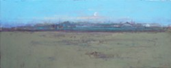MOON, VALERO, AND 7-11 :  Cambria artist Terry DeLapp has long painted the serene farmland of Central California, though a recent trip back to the places he once captured on canvas revealed the creeping imposition of industry. Now, cell phone towers and satellites dishes dot his agrarian scenes. - ARTWORK BY TERRY DELAPP