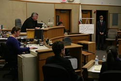 HERE COME DA JUDGE! :  SLO attorney John Fricks, who chairs the SLO County Mock Trials, acts as judge during a competition between two local high schools. - PHOTOS BY GLEN STARKEY