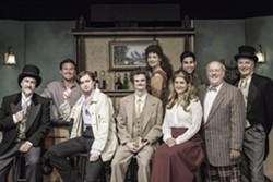 CAFÉ COLLECTIVE:  The cast of Picasso at the Lapin Agile consists of a multitude of colorful characters from the money-minded art dealer Sagot (Larry Kaml, far left) to frequent urinater Gaston (Tom Ammon, far right). - PHOTO COURTESY OF RYLO MEDIA DESIGN