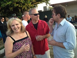 VIPS! :  (Left to right) Patty Thayer of the SLO Symphony, husband David Thayer of Aspect Studios, and Kevin Dale Harris of the SLO Little Theatre chat it up. - COLOR IPHONE PHOTOS BY STEVE E. MILLER