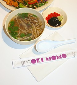 PHO-GET ABOUT IT:  Created by Oki Momo co-owner David Yeh, this pho features slow-cooked beef bone broth infused with an aromatic blend of herbs and spices and served with rice noodles, bean sprouts, Thai basil, and cilantro. - PHOTO BY HAYLEY THOMAS
