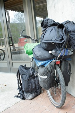 BIKE, BED, AND BEYOND :  A January count showed homelessness has spiked in SLO County. - PHOTO BY STEVE E. MILLER