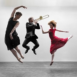 JUMP FOR JOY :  Dancer/choreographer Lisa Deyo (left) is pictured with trombone player Steve Carlson (center) and the Civic Ballet's Harmony True (right). - PHOTO BY BARRY GOYETTE