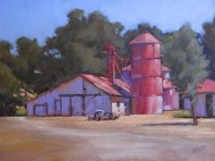 """HALTER RANCH :  As a plein air painter, Penelope Letz found it difficult at first to paint an entirely red painting. Now, she says, """"I see red everywhere."""" - IMAGE COURTESY OF STUDIOS ON THE PARK"""