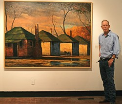 MEET THE ARTIST :  Former SLO Resident Mark Beck stands by his painting Slave Quarters (Chattel), part of a new collection of paintings hanging through July in the SLOMA. - PHOTO BY GLEN STARKEY
