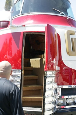 BACK TO THE FUTURE :  Collector Brad Boyajian's restored 1939 General Motors Futurliner, with an interior staircase to climb up into the 10-foot-tall cab, was a favorite of the crowds.
