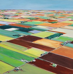 FIELD OF DREAMS:  Glynis Tinglof paints abstract aerials, like 'Color Fields' (pictured), in her Los Osos-based studio. - IMAGE COURTESY OF GLYNIS TINGLOF