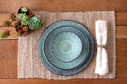 BACK BAY POTTERY THREE-PIECE DINNERWARE SET: - PHOTO COURTESY OF BACK BAY POTTERY