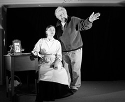 MENTORING:  Nehemiah Persoff helps Emma Duncan prepare for her role as Emily Dickinson in The Belle of Amherst. - PHOTO BY STEVE E. MILLER