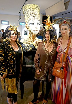 WALK LIKE AN EGYPTIAN:  (Left to right) Madelyn Ropner, Janie Ngg, and Jeanne Brant get into the Egyptian theme of one part of Scott's show. - PHOTO BY GLEN STARKEY
