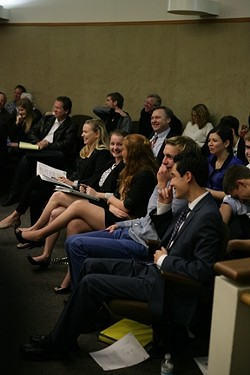 MOMENT OF LEVITY! :  Students from Mission Prep crack up during an exchange during the trial.