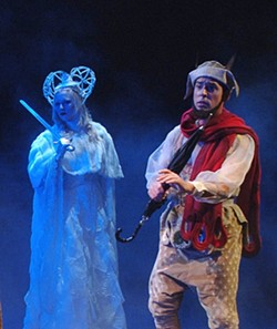 A TALE OF GOOD AND EVIL :  The white witch, played by Karin Hendricks, and Tumnus, Michael Jenkinson, don't see eye to eye in PCPA's production of The Lion, the Witch, and the Wardrobe. - PHOTO BY LUIS ESCOBAR/ REFLECTIONS PHOTOGRAPHY STUDIO