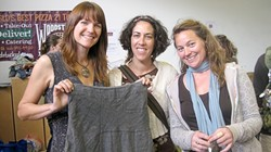 SEWING CIRCLE :  Allison Rice transformed a ruffled dress into a sexy skirt with the help of friends Kasey Rosecrans and Melanie Wolf. - PHOTO BY NICK POWELL