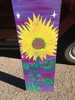 "HELLO SUNSHINE:  Venegas paints on more than surfboards and uses more than yoga for inspiration in this piece, entitled ""Purple Skies."" - PHOTO COURTESY OF VANESSA VENEGAS"