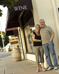 EDUCATED PALATES :  UCSB Professor Patrick Faverty and Kris Johnson, a former teacher, recently acquired and refined a signature shop in San Luis Obispo for connoisseurs of local wine, Monterey Street Wines. - PHOTO BY STEVE E. MILLER