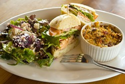 BRICK WORKS TRIO :  One of the many trio selections at the new restaurant Taste includes mixed baby greens with Cotija cheese and a toasted coriander lime vinaigrette, Salmon Sammy sandwich and sharp cheddar, with bacon macaroni and cheese. - PHOTO BY STEVE E. MILLER