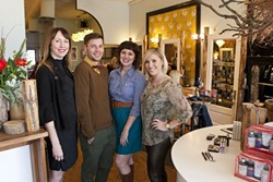 """BLUEBIRDS OF HAPPINESS :  Salon owner Ariel Shannon and fellow """"birdies"""" Tyler Freeman, Jessi Campbell, and Rhyan Townsend are among the stylists donating their time for the hair and makeup makeover contest. Danielle Roberts (not pictured) will also donate her time. - PHOTO BY STEVE E. MILLER"""