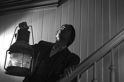 "WHO GOES THERE?:  Matt O'Neill, pictured, in filmmaker Benjamin Cooper's adaptation of Poe's last, unfinished short story, ""The Lighthouse."" - PHOTO COURTESY OF BENJAMIN COOPER"