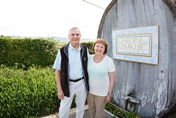 """NUTTY PROFESSORS:  In the early '80s, Claiborne """"Clay"""" Thompson and his wife Fredericka Churchill ditched their careers as University of Michigan professors and planted winemaking dreams in Edna Valley's fertile soil. - PHOTO BY KAORI FUNAHASHI"""