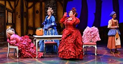 WICKEDLY FUNNY:  Cinderella (Molly Wetzel, pictured right) is hounded incessantly by her wicked stepmother Madame (Kitty Balay, center right) and Madame's two daughters Gabrielle (Karin Hendricks, center left) and Charlotte (Annali Fuchs, left) in PCPA's production of 'Cinderella.' - PHOTO COURTESY OF LUIS ESCOBAR/REFLECTIONS PHOTOGRAPHY STUDIO