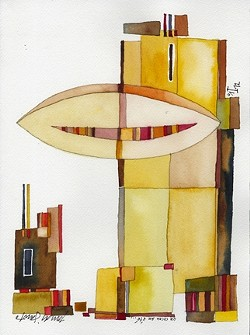 "UN COCON EN ÉTÉ :  Since artist/architect Tom di Santo painted many of the show's watercolors while staying in Paris, he titled them in French. Pictured is ""A Cocoon in Summer."" - ART BY TOM DI SANTO"