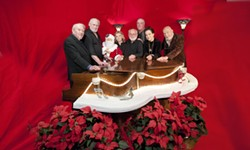 THE OLD GANG RETURNS:  Six years ago, the Pewter Plough Playhouse wowed crowds with a Gershwin-centric musical extravaganza, and now the original cast—(left to right) George Anderson, David Manion, Viv Goff, Wayne Attoe, Jim Conroy, Laurelle Barnett, and Jim Buckley—is back for a holiday encore running Nov. 25 through New Year's Eve. - PHOTO BY BRETTWHITEPHOTOGRAPHY.COM