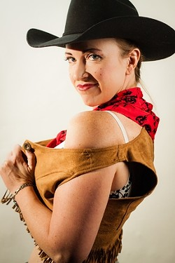 RIDE 'EM, COWGAL :  Costumes, music, dance, and camp combine in SLO Tease's neo-burlesque shows, Nov. 16, 17, and 24 at The Z Club. - PHOTOS BY BRIAN J. MATIS PHOTOGRAPHY