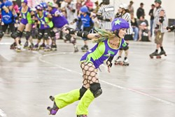 JAMMIN':  Pinball takes a turn as jammer for the Broad St. Brawlers. - PHOTO BY STEVE E. MILLER