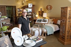 """SPECIAL WARES :  Recently transplanted from Boston, Chuck Quinn has opened a new home decoration store, C W Quinn Home, in what's soon to be dubbed the """"Design District"""" off of Tank Farm Road. - PHOTO BY STEVE E. MILLER"""