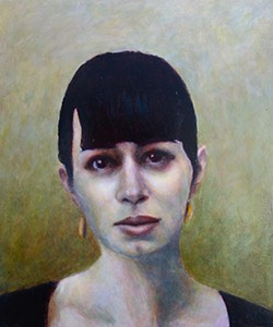 STILL LINN:  This portrait of 'Tribune' writer Sarah Linn is one of a trio Scott painted. - IMAGE BY DAVID SETTINO SCOTT