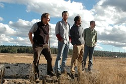 WAY OUT WEST :  (Left to right) Ryan Heinsius (vocals and guitar), Andrew Lauher (drums), Dave McGraw (vocals and guitar), and Thom Lord (bass) are Dave McGraw and Crow Wing, appearing July 16 at Frog and Peach. - PHOTO COURTESY OF DAVE MCGRAW AND CROW WING