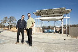 MEN OF VISION:  Lee A. Smith (left), owner of Prescient Entertainment, will be the exclusive talent booker for the new Vino Robles Amphitheater, and venue general manager Tim Reed will oversee construction and operation of the facility. - PHOTOS BY STEVE E. MILLER